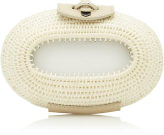 Khokho Lindi Leather-Trimmed Straw Clutch