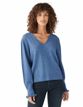 Lucky Brand Women's Long Sleeve Tie Neck Peasant Cable Sweater