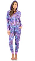 Ashford & Brooks Women's Microfleece Hooded One Piece Pajama Union Jumpsuit