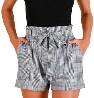 Shobdw Women's Pants Womens Shorts SHOBDW Women Fashion Stripe Prints Pocket OL Hot Pants Lady Summer Beach Party Work Trousers (10