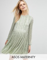 Asos Bugle Beaded Long Sleeve Skater Dress