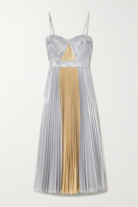 Marchesa Two-tone Pleated Metallic Lame Midi Dress - Gold