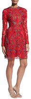 Naeem Khan Lace Long-Sleeve A-Line Cocktail Dress, Red