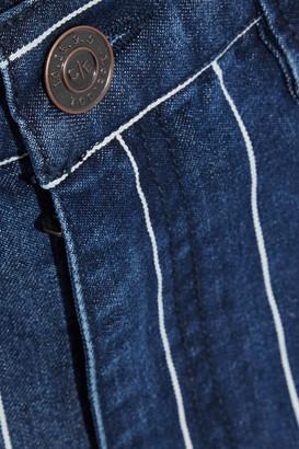 Current/Elliott The Vintage Cropped Striped High-rise Slim-leg Jeans
