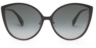 Fendi Oversized Cat-eye Metal And Optyl Sunglasses - Grey