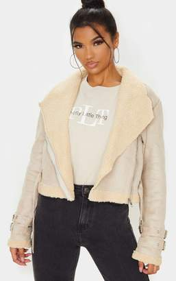 PrettyLittleThing Beige Cropped Aviator Jacket