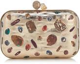 Jimmy Choo CLOUD Gold Metal Clutch Bag with Mixed Swarovski Crystal Stones