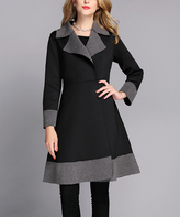 Black & Gray Two-Tone A-Line Coat - Plus