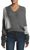 McQ by Alexander McQueen Patched V-Neck Long-Sleeve Cable-Knit Sweater