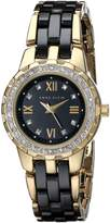Anne Klein Women's 10/9456BKGB Swarovski Crystal-Accented Gold-Tone and Ceramic Watch
