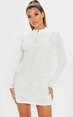 PrettyLittleThing Cream High Neck Zip Front Rib Knit Dress