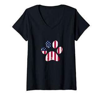 Womens 4th of July Dog Shirt Puppy American Flag Dog Paw Print Dog V-Neck T-Shirt