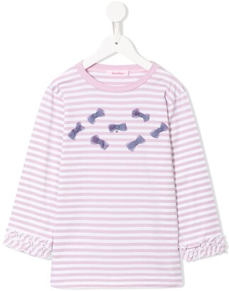 Familiar Long Sleeve Striped Bow Detail Top