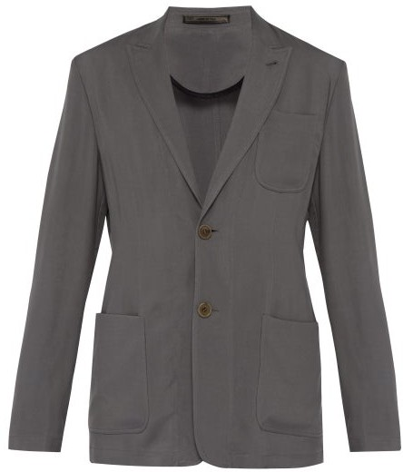 Giorgio Armani Cupro Blazer Jacket - Mens - Grey