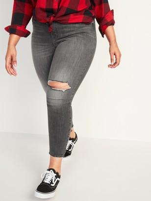 Old Navy High-Waisted Secret-Slim Pockets Rockstar Super Skinny Plus-Size Ripped Ankle Jeans