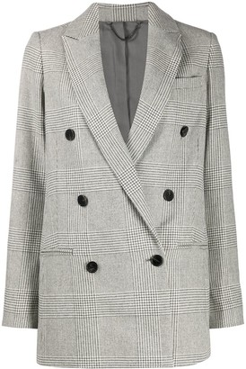 AllSaints Double Breasted Check Pattern Blazer