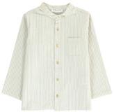 Babe & Tess Sale - Striped Mandarin Collar Shirt