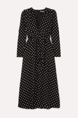 Alessandra Rich Tie-front Polka-dot Silk Crepe De Chine Midi Dress - Black