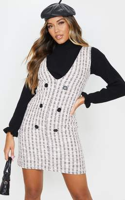 PrettyLittleThing Black Tweed Button Front Shift Dress