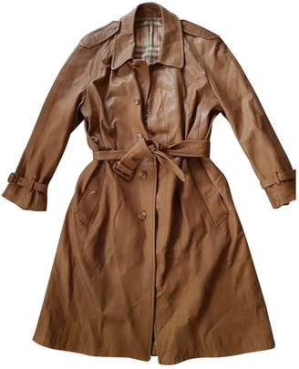 Burberry Camel Leather Trench Coat for Women Vintage