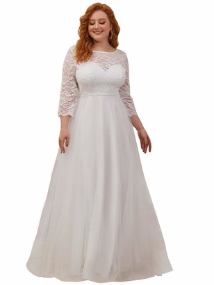 Ever Pretty Ever-Pretty Women's Elegant Round Neck Lace Long Sleeve Empire Waist A line Floor Length Wedding Evening Dresses Plus Size with Sweep Train White 24UK
