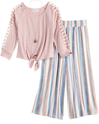 Knitworks Girls 7-16 3/4 Sleeves Tie Front Top and Pants Set with Necklace