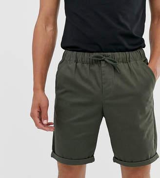 Asos Design DESIGN Tall slim chino shorts with elastic waist in dark khaki-Green