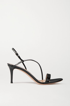 Gianvito Rossi Manhattan 70 Crystal-embellished Patent-leather Sandals - Black