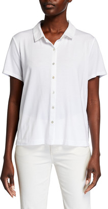 Eileen Fisher Collared Short-Sleeve Jersey Shirt