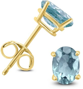 Marquee 14K Yellow Gold 5x3MM Oval Aquamarine Earrings
