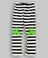 Urban Smalls Black & White Shamrock Stripe Leggings - Infant, Toddler & Girls