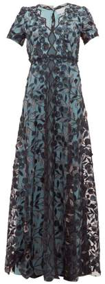 Luisa Beccaria Floral Embroidered Tulle Gown - Womens - Black Multi