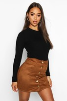boohoo Laura Bonded Suede Button Through Mini Skirt