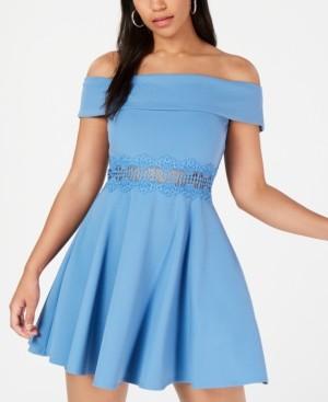 B. Darlin Juniors' Off-The-Shoulder Crochet Dress