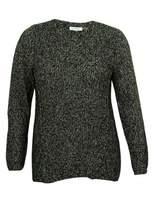 Calvin Klein Women's Mixed Stitch Marled Sweater (L, Black/Birch)