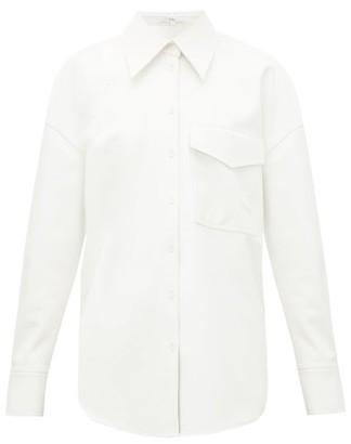 Tibi Oversized Faux Leather Shirt - Womens - White