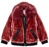 Pepe Jeans Red Faux Fur Aviator Jacket