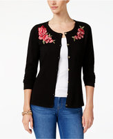 Karen Scott Floral-Patch Cardigan, Created for Macy's