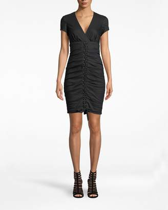 Nicole Miller Solid Cotton Metal D-ring Lace Up Cap Sleeve Dress