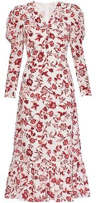 Erdem Elenora Floral Puff-Sleeve Dress