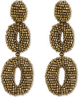 Oscar de la Renta Beaded oval clip-on earrings