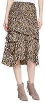 Derek Lam Tiered Leopard-Print Silk Midi Skirt, Yellow