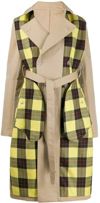 Unravel Project Checked Panels Trench Coat