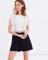 Miss Selfridge Dobby and Lace Playsuit