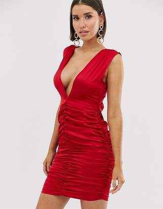 PrettyLittleThing satin mini dress with low back and bow detail in red