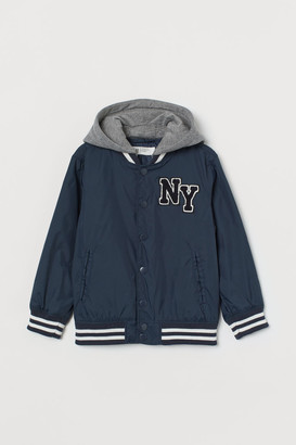 H&M Hooded Baseball Jacket - Blue