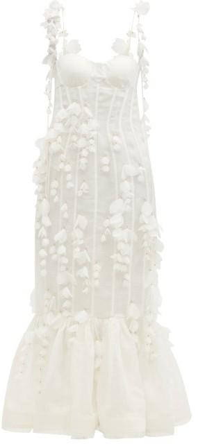 Zimmermann Botanica Petal-trimmed Linen-blend Organza Dress - Ivory