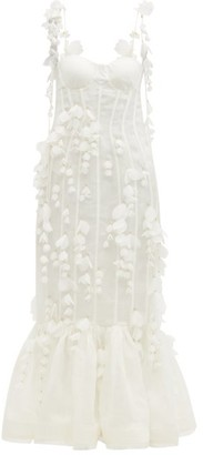 Zimmermann Botanica Petal-trimmed Linen-blend Organza Dress - Ivory