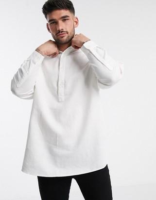 ASOS DESIGN oversized overhead linen shirt in white with grandad collar