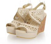 AIWEIYi Womens Summer Cutouts Wedges Strappy High Heel Dress Sandals